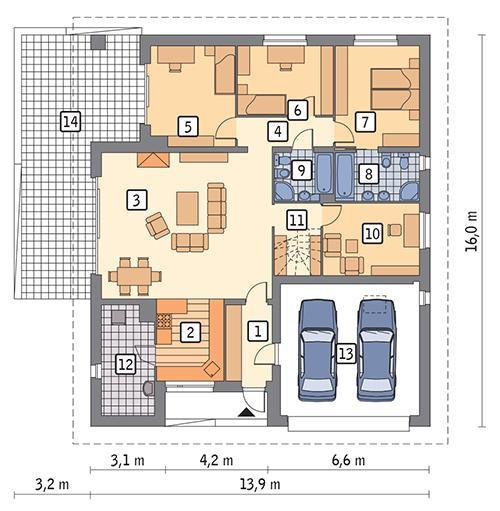 Rzut parteru POW. 168,0 m²