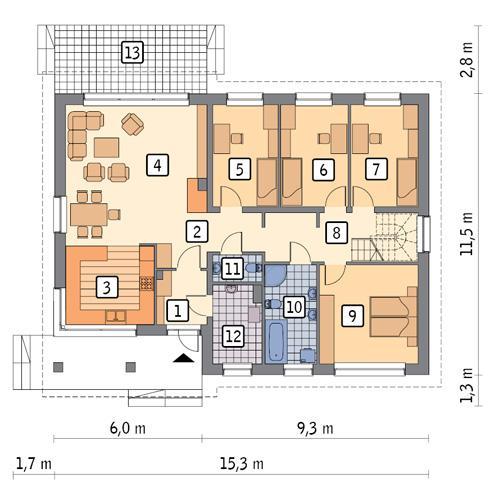 Rzut parteru POW. 132,1 m²