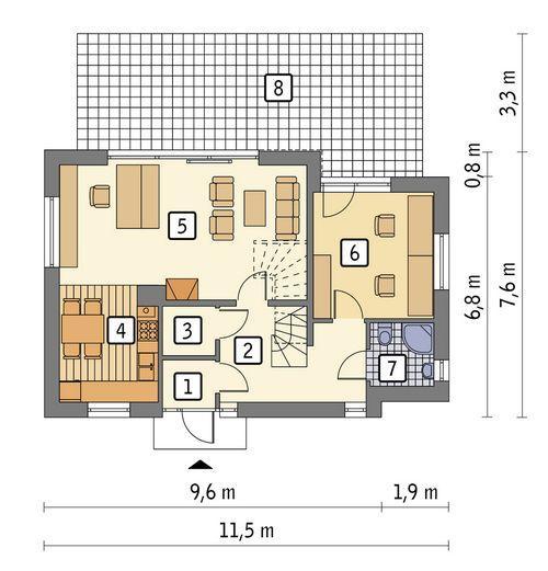 Rzut parteru POW. 63,4 m²