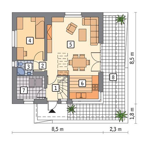 Rzut parteru POW. 52,4 m²