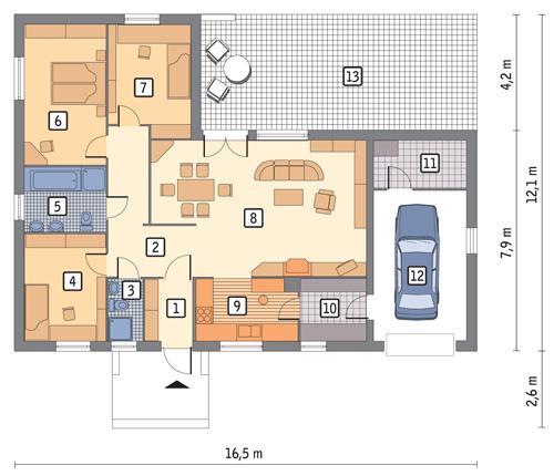 Rzut parteru POW. 160,1 m²