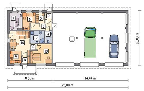 Rzut parteru POW. 203,7 m²