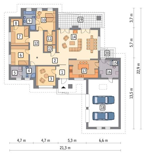 Rzut parteru POW. 229,6 m²