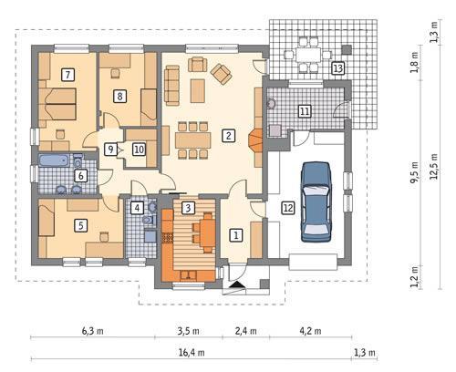 Rzut parteru POW. 146,1 m²